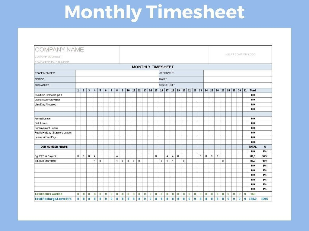001 Fearsome Monthly Timesheet Excel Template Highest Clarity  Multiple Employee Free Semi-monthly 2020Large