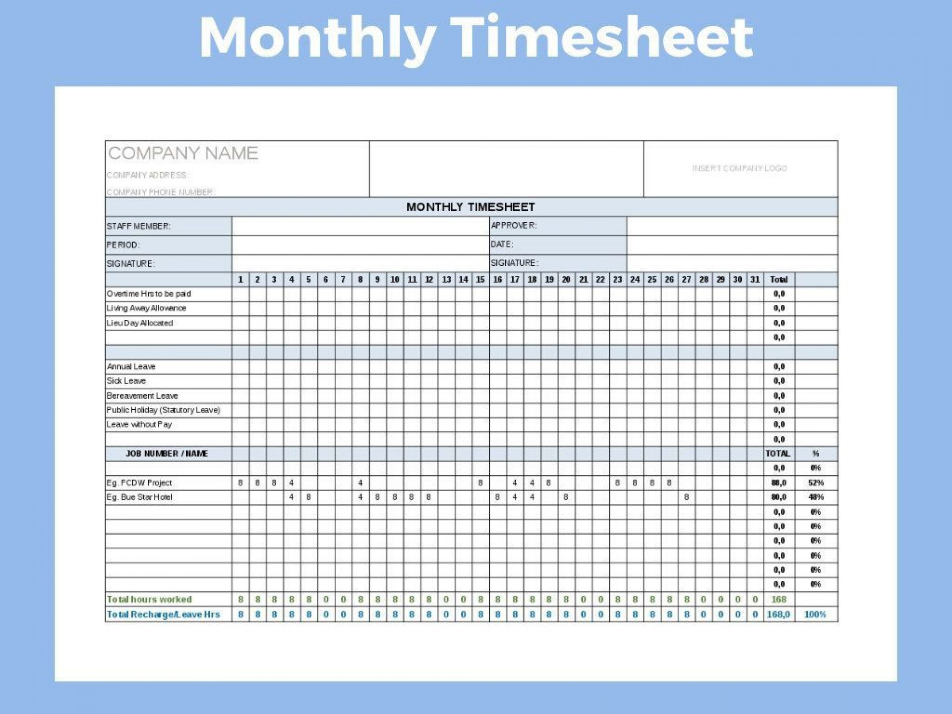 001 Fearsome Monthly Timesheet Excel Template Highest Clarity  Multiple Employee Free Semi-monthly 20201920
