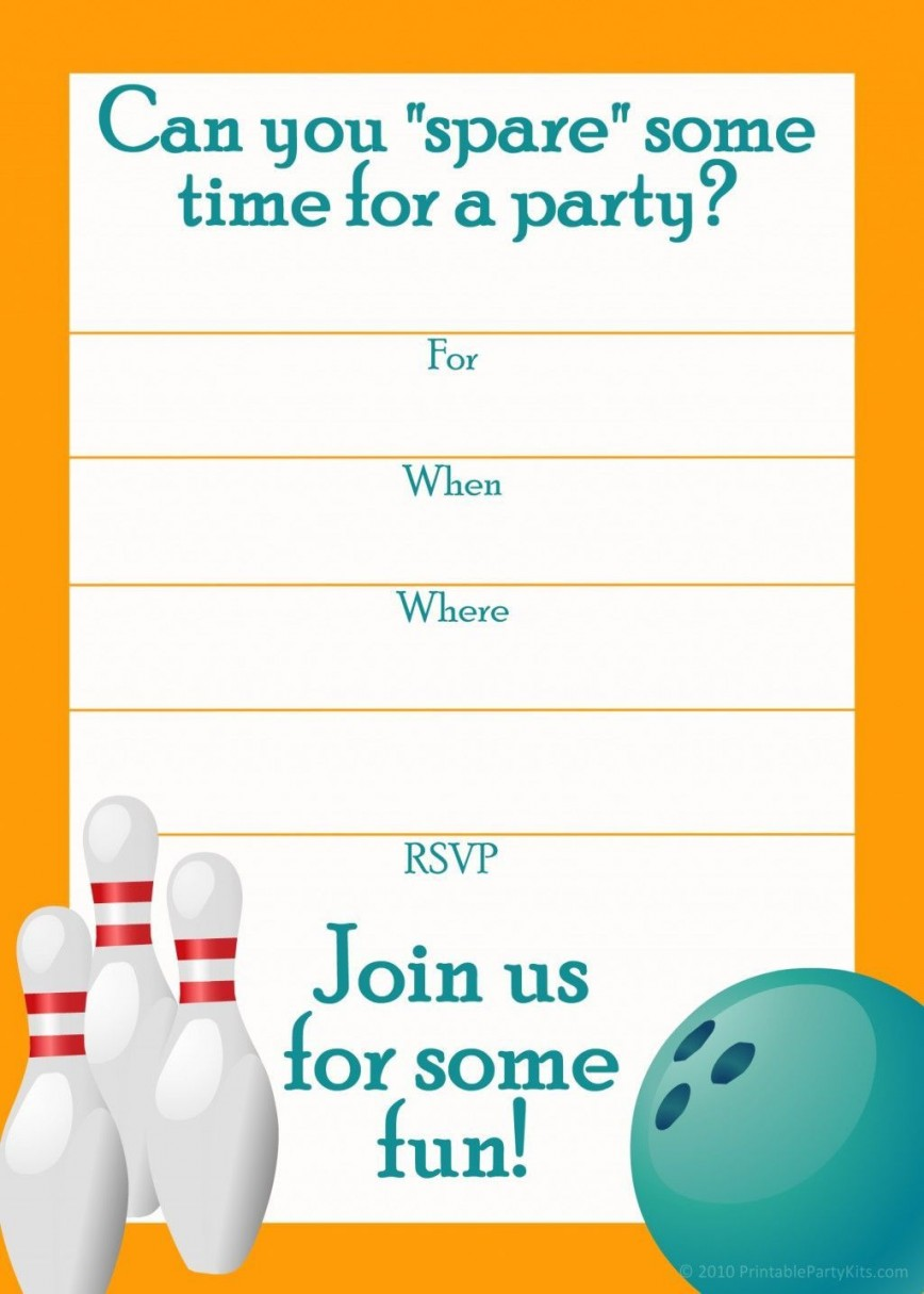 001 Formidable Bowling Party Invite Printable Free Concept  Birthday Invitation868