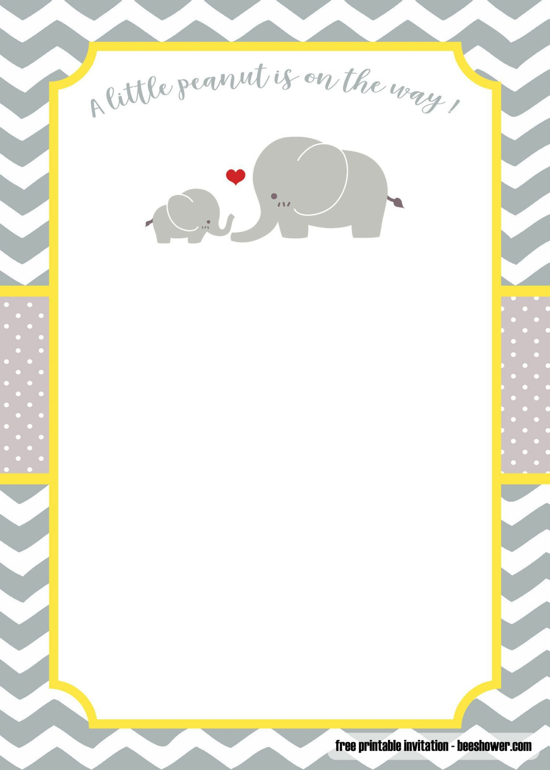 001 Formidable Elephant Girl Baby Shower Invitation Template Example  Templates Pink1920