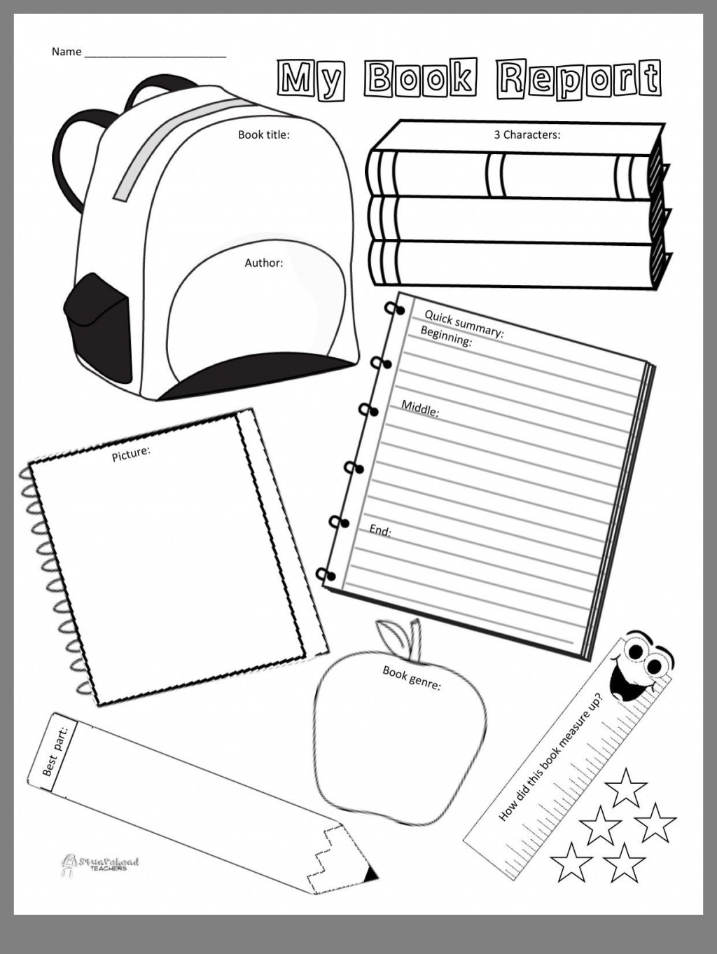 001 Formidable Free Printable Book Report Template For 6th Grade Image Large