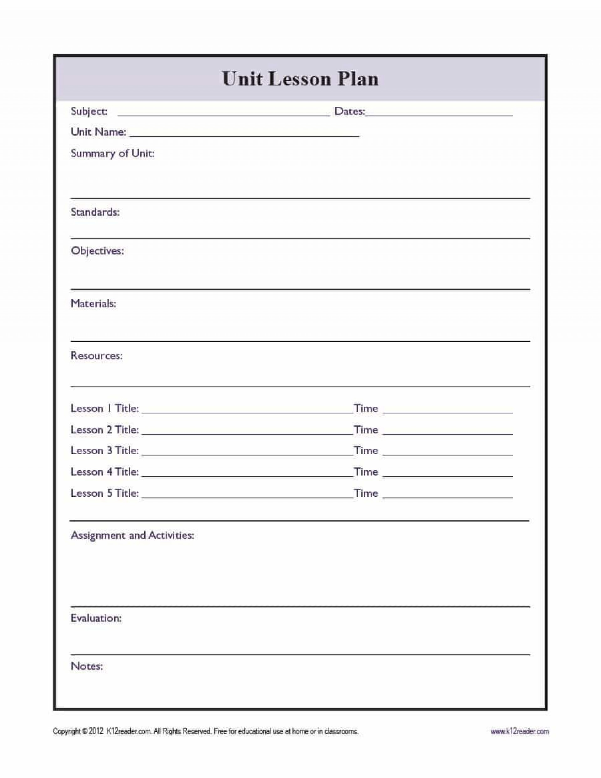 001 Formidable Free Unit Lesson Plan Template Sample 1920