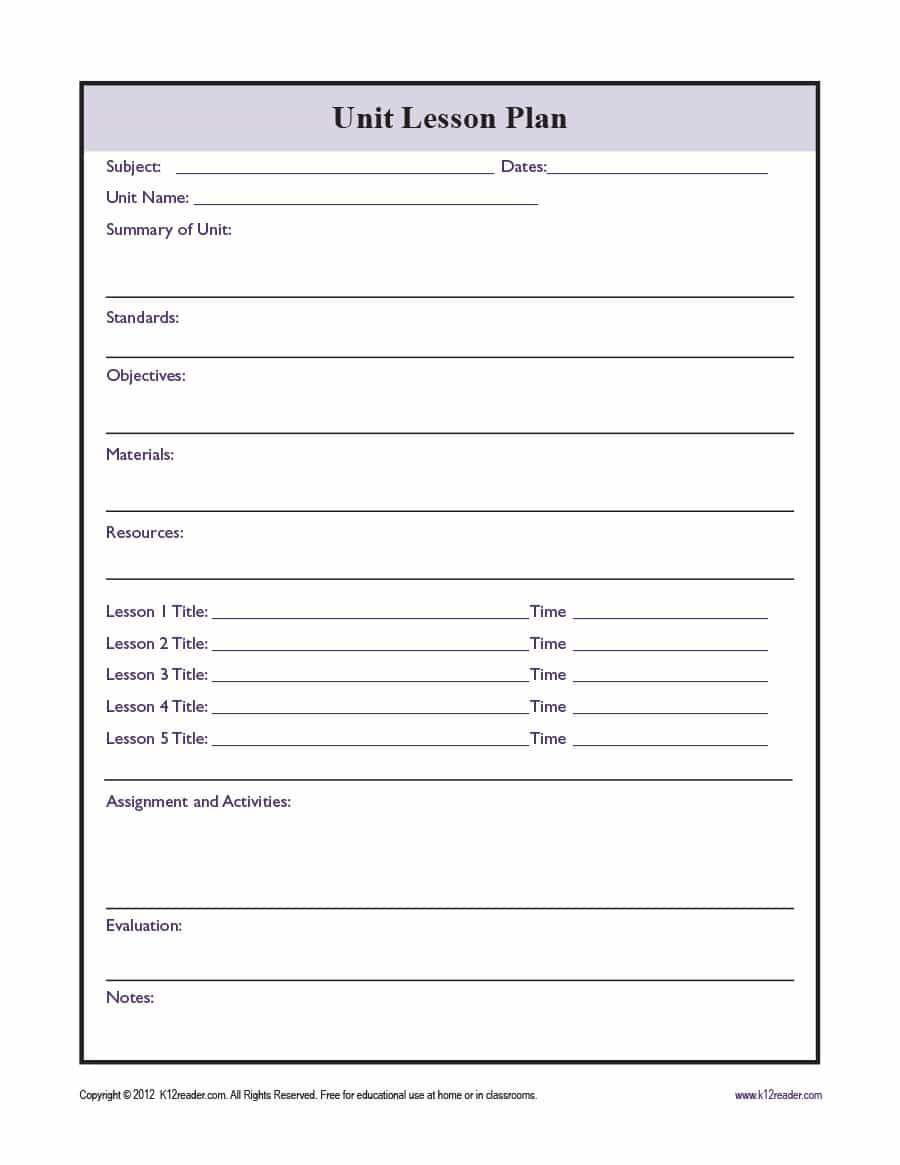 001 Formidable Free Unit Lesson Plan Template Sample Full