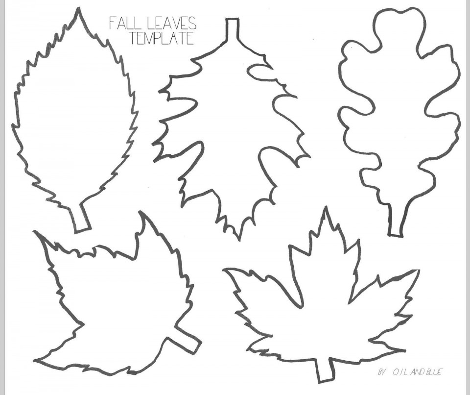 001 Formidable Leaf Template With Line Photo  Fall Printable Blank960