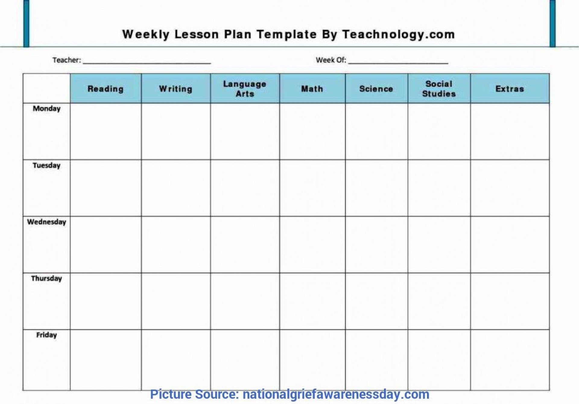 001 Formidable Lesson Plan Template Free Example  Weekly Printable Editable Preschool Format1920