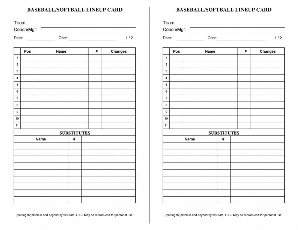 001 Formidable Little League Lineup Card Template Idea  BaseballLarge