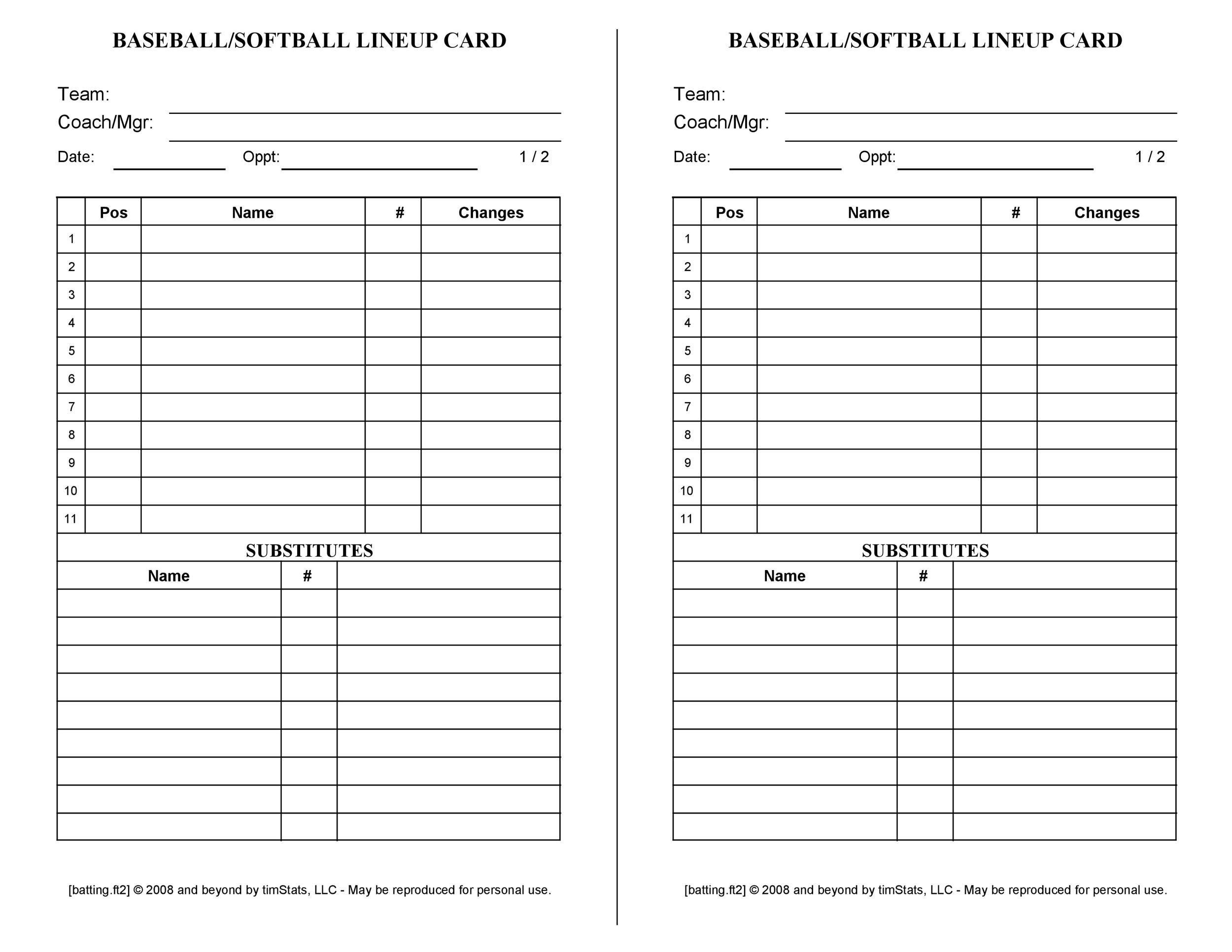 001 Formidable Little League Lineup Card Template Idea  BaseballFull