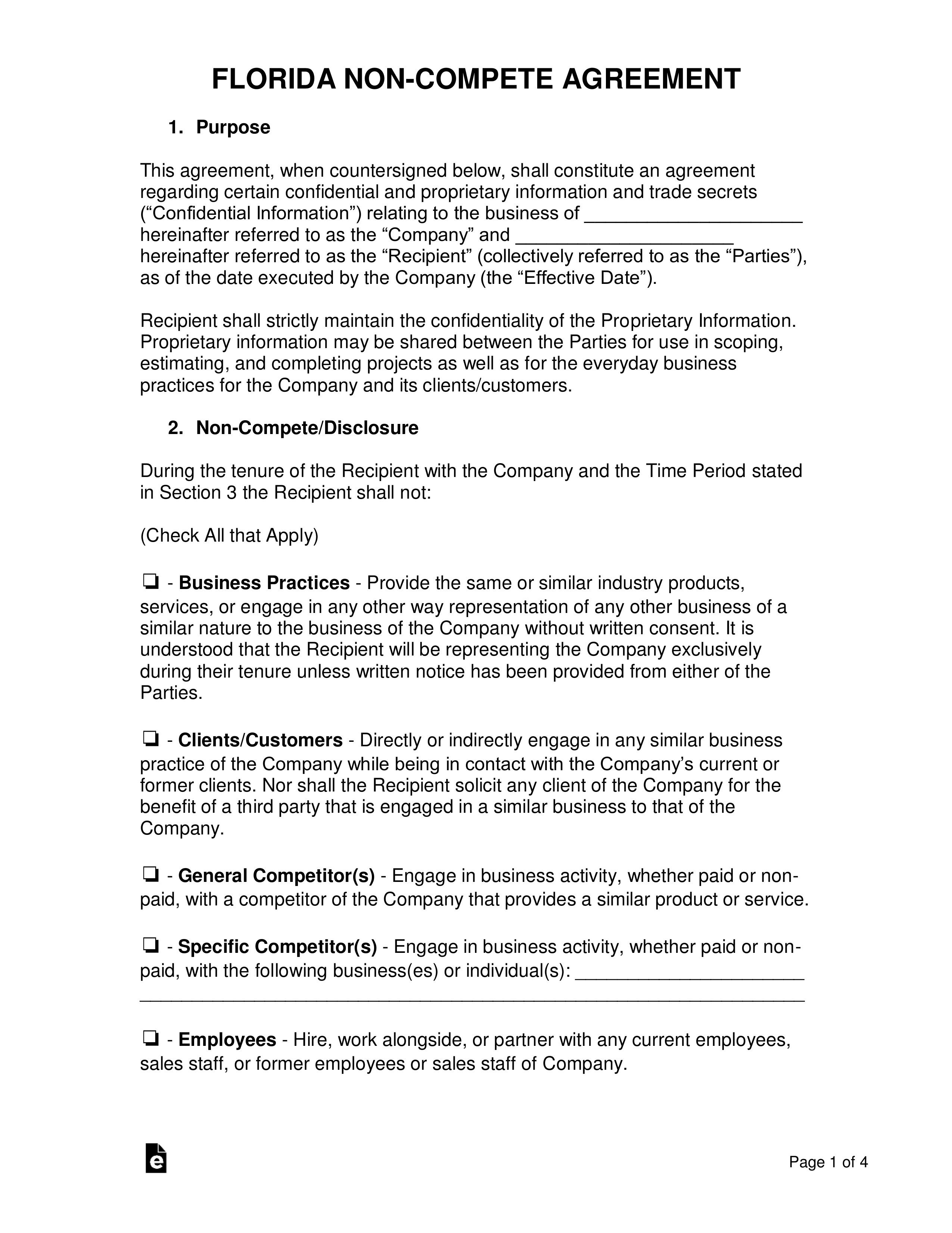 001 Formidable Non Compete Agreement Florida Template Design Full
