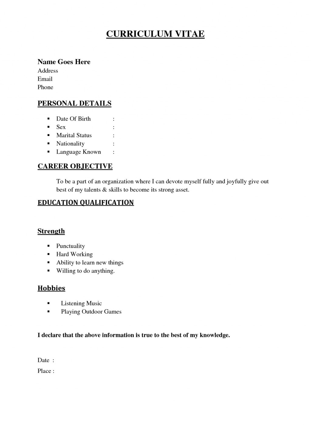 001 Formidable Simple Job Resume Template Idea  Download FirstLarge