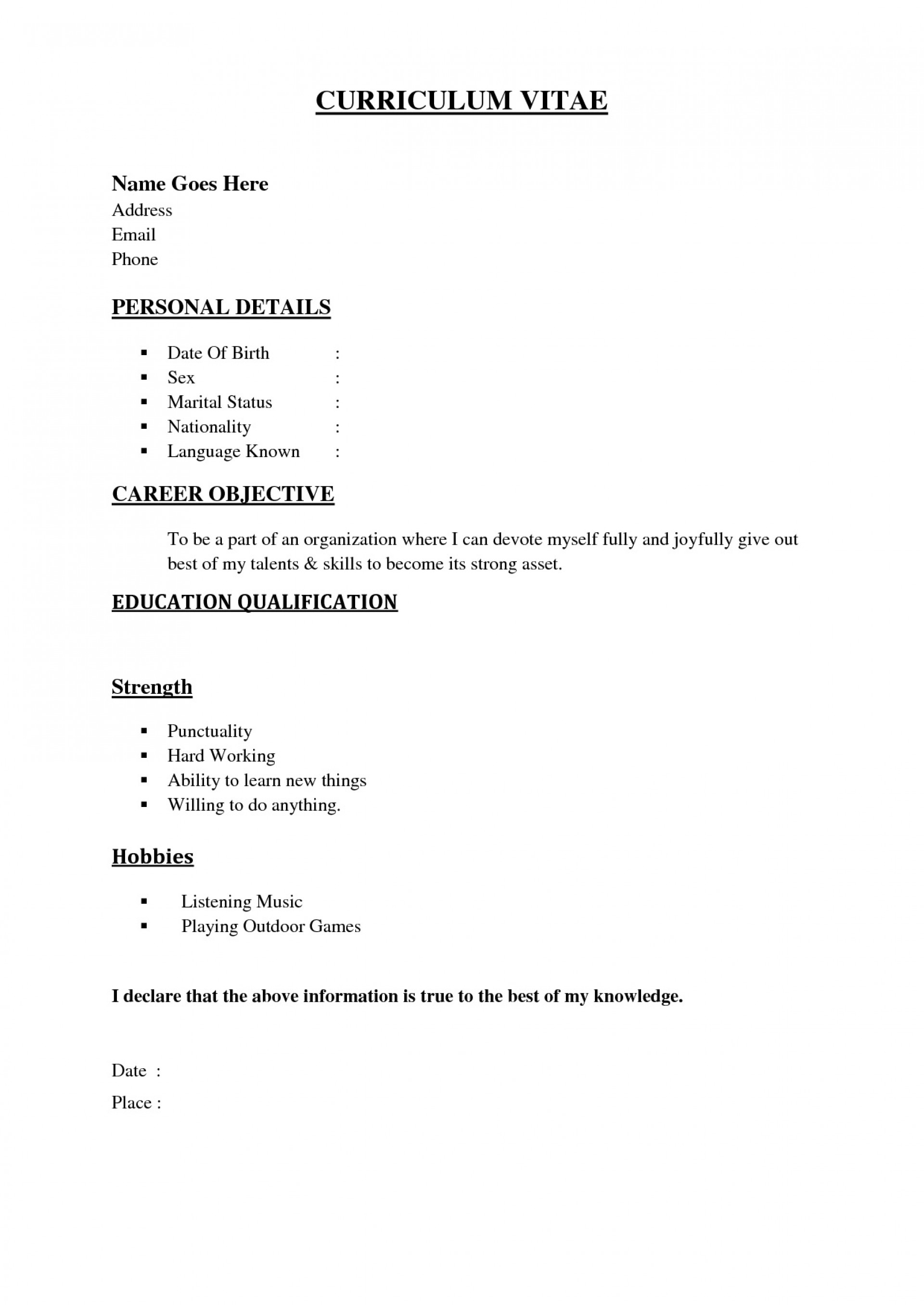 001 Formidable Simple Job Resume Template Idea  Download First1920