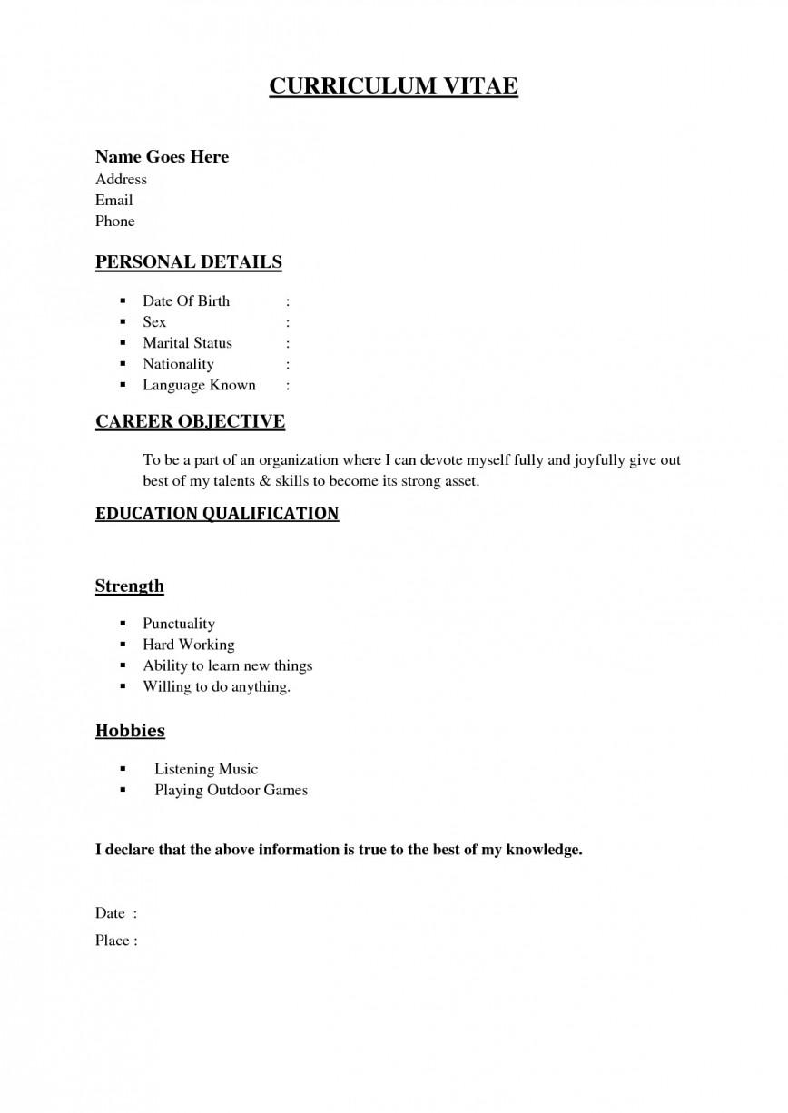 001 Formidable Simple Job Resume Template Idea  Sample Example First