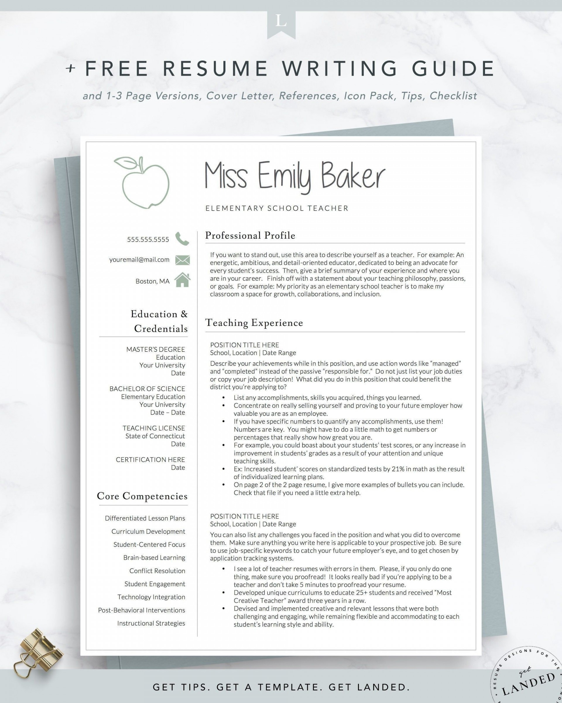 001 Formidable Teacher Resume Sample Free Download Example  Cv1920