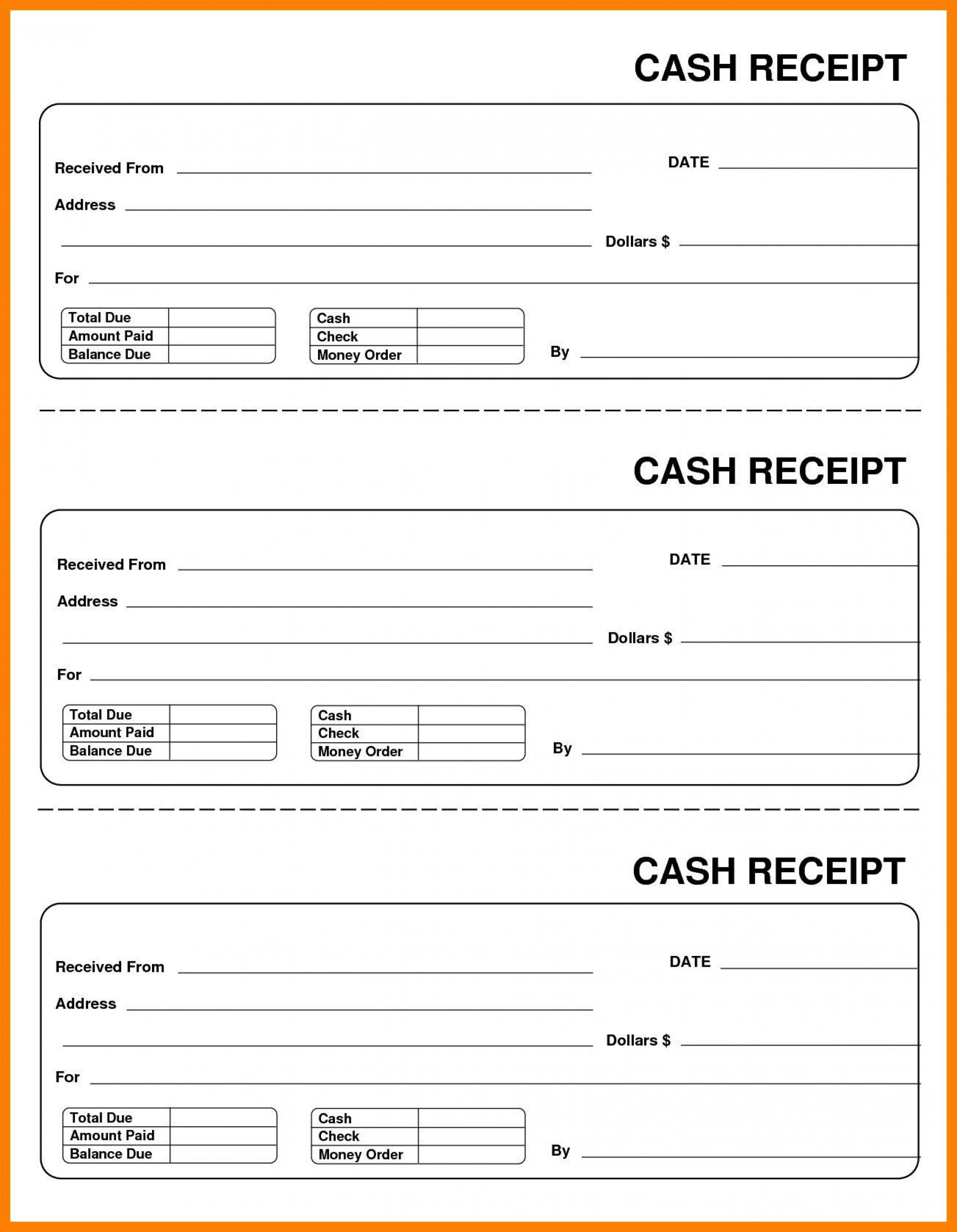 001 Frightening Cash Receipt Template Excel Idea  Fillable Simple Bill Journal1920