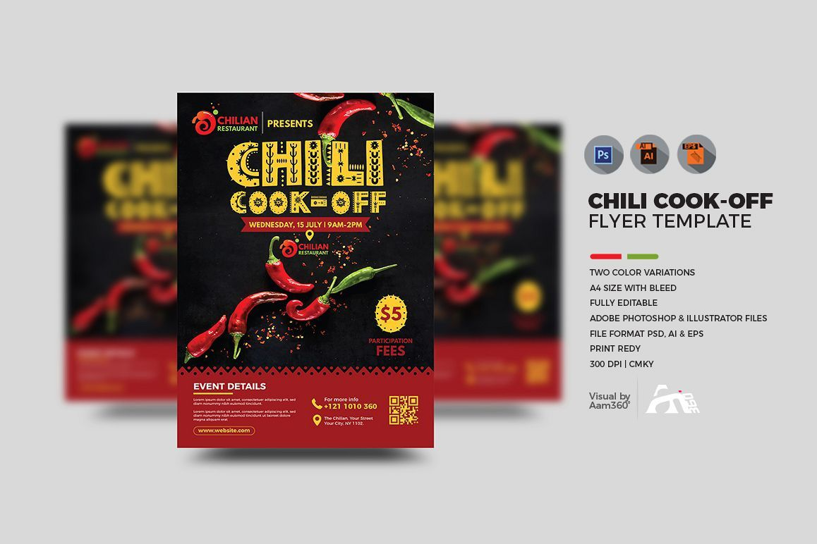 001 Frightening Chili Cook Off Flyer Template Design  Halloween Office PowerpointFull