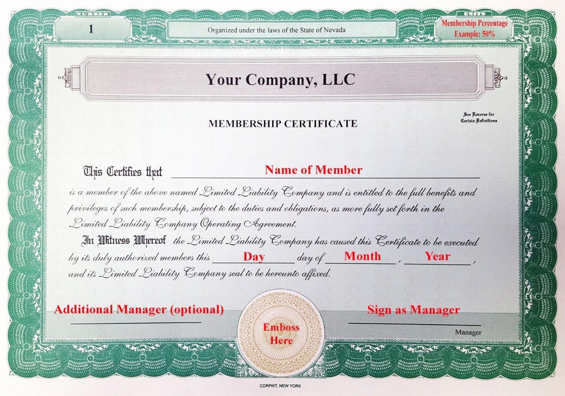 001 Frightening Llc Membership Certificate Template Example  Interest Free Member1920