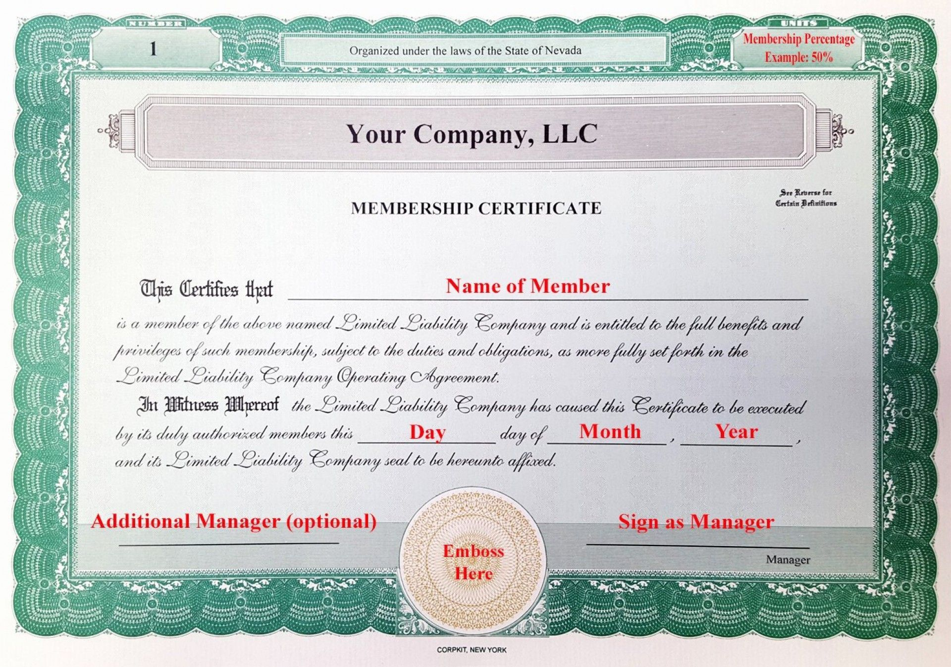 001 Frightening Llc Membership Certificate Template Example  Interest Free MemberFull