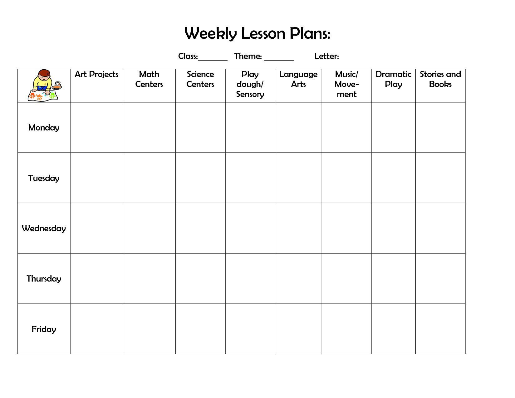 001 Frightening Printable Lesson Plan Template Free Image  Preschool Weekly Pdf For ToddlerFull
