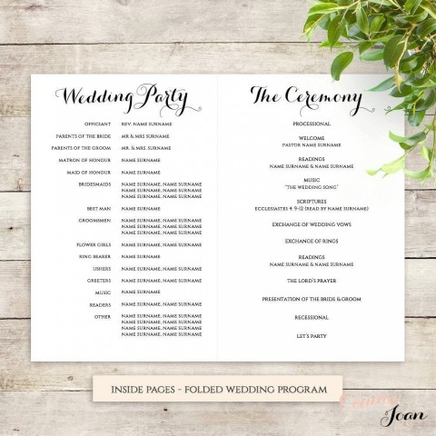 001 Frightening Wedding Order Of Service Template Free Photo  Front Cover Download Church480