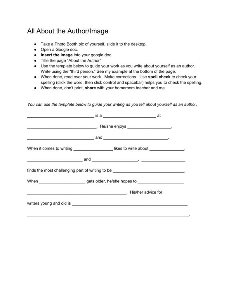 001 Imposing About The Author Template Example  Pdf All For StudentFull