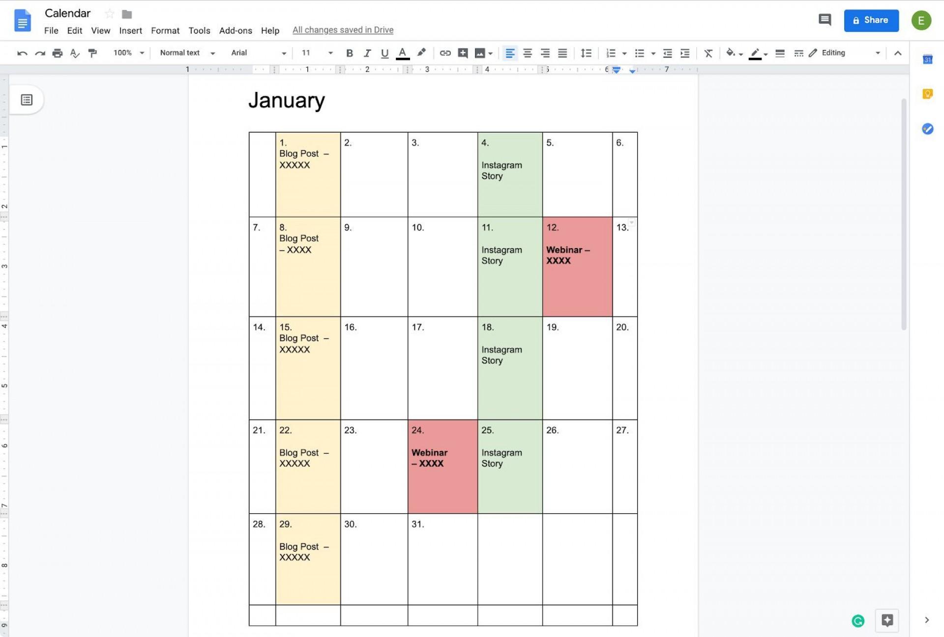001 Imposing Calendar Template Google Doc High Definition  Docs Editable Two Week 2019-201920