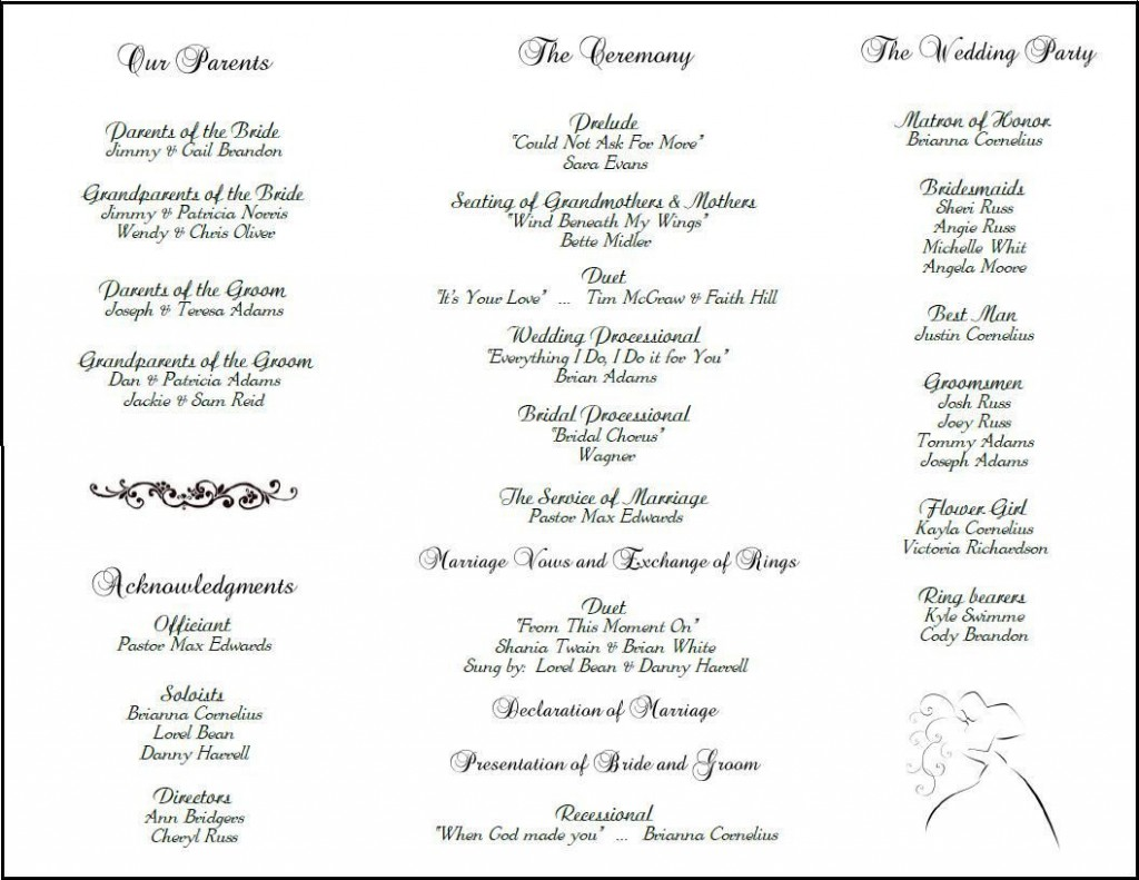 001 Imposing Catholic Wedding Program Template Picture  Roman Idea (with Readings)Large