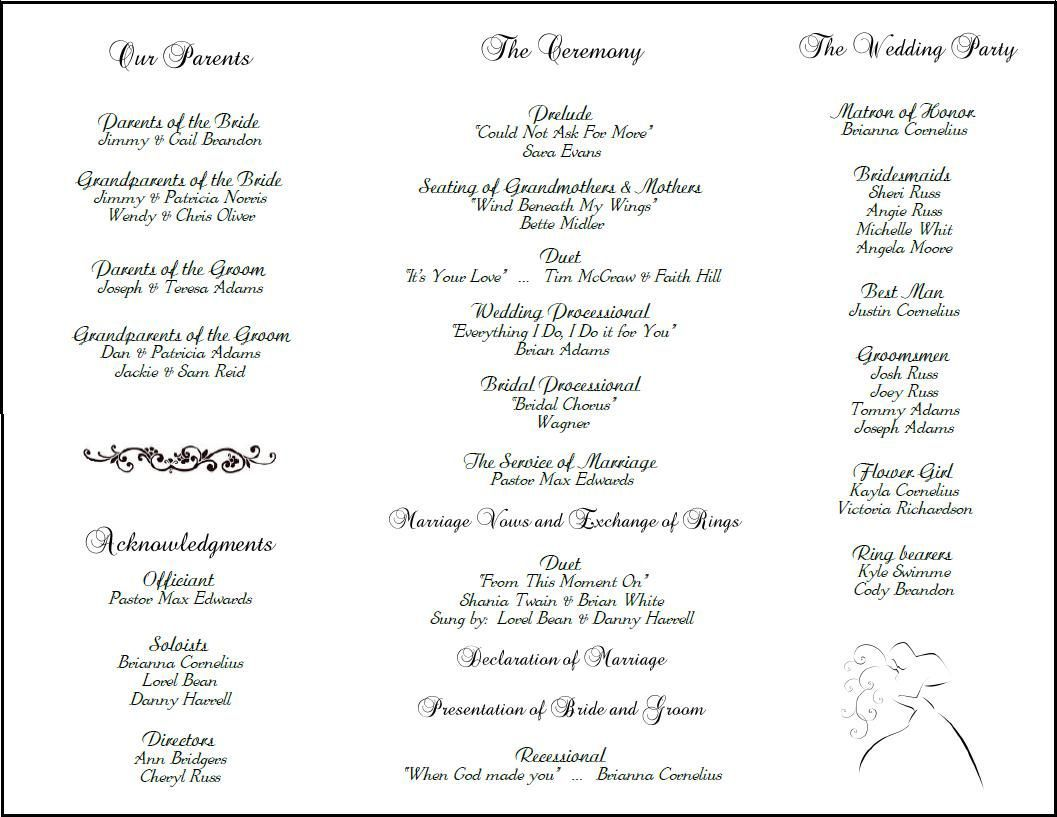 001 Imposing Catholic Wedding Program Template Picture  Roman Idea (with Readings)Full