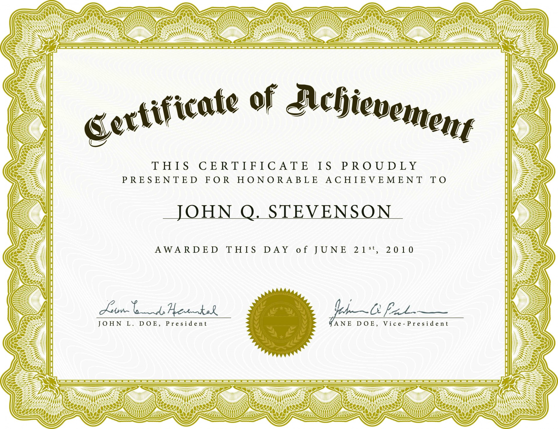 001 Imposing Certificate Of Achievement Template Free Idea  Award Download Word1920