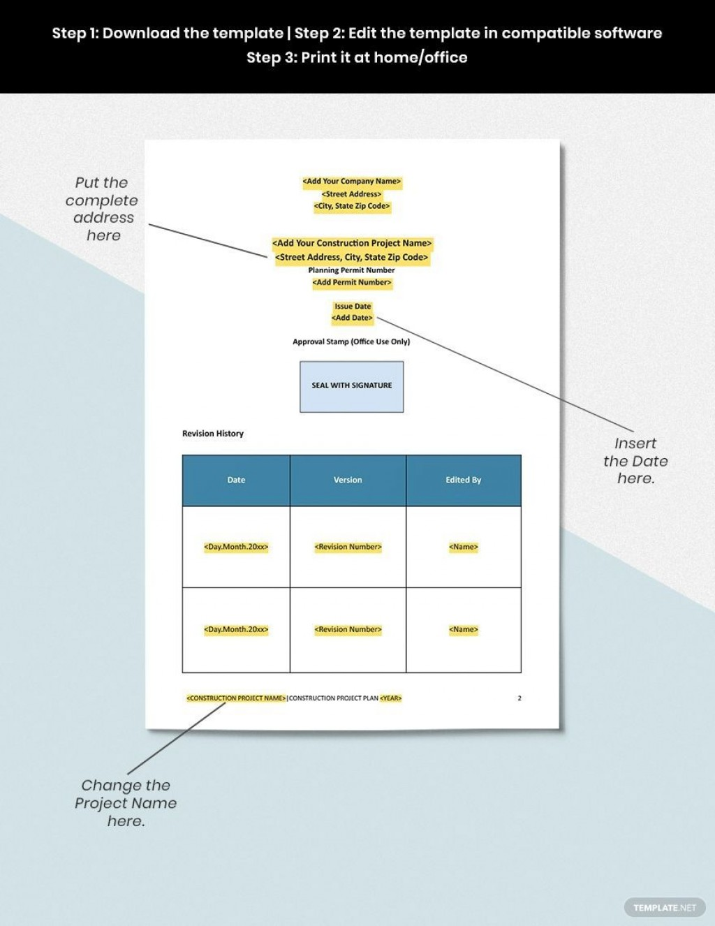 001 Imposing Construction Project Management Plan Template Word Sample Large