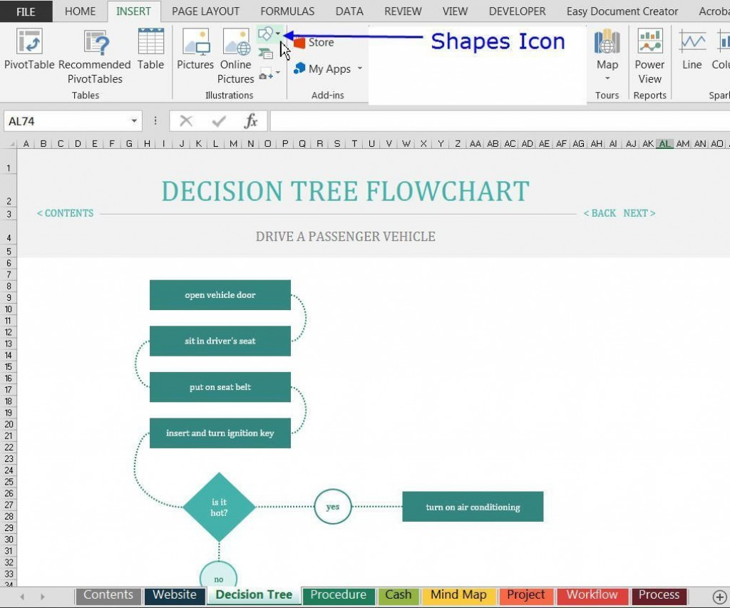 001 Imposing Decision Tree Template Excel Free Example  In Word OrLarge