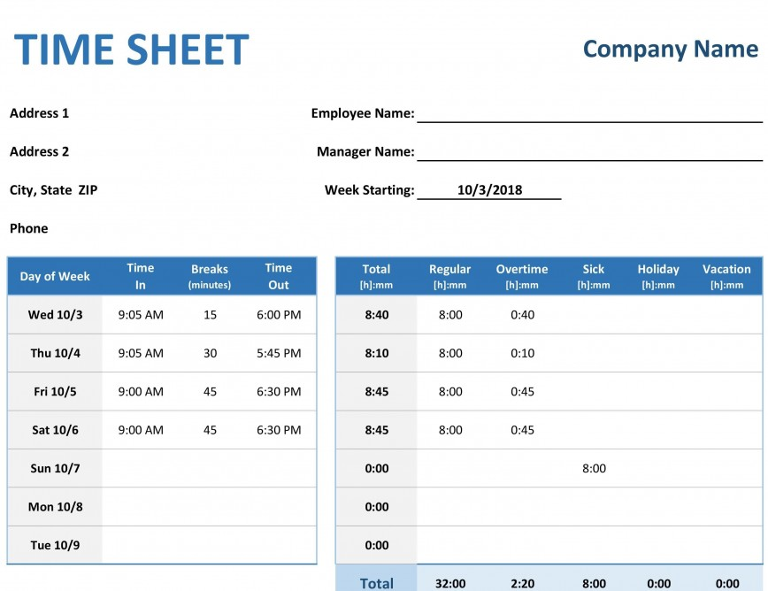 001 Imposing Excel Time Card Template Example  Microsoft Free Weekly