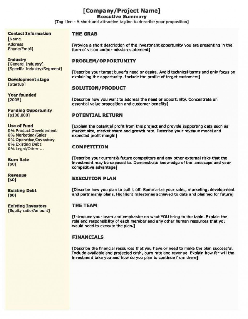 001 Imposing Executive Summary Template Word Free Photo Large