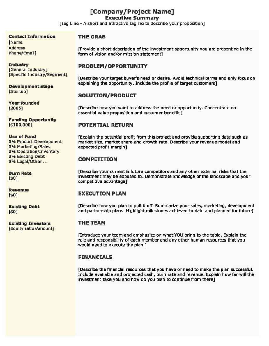 001 Imposing Executive Summary Template Word Free Photo Full