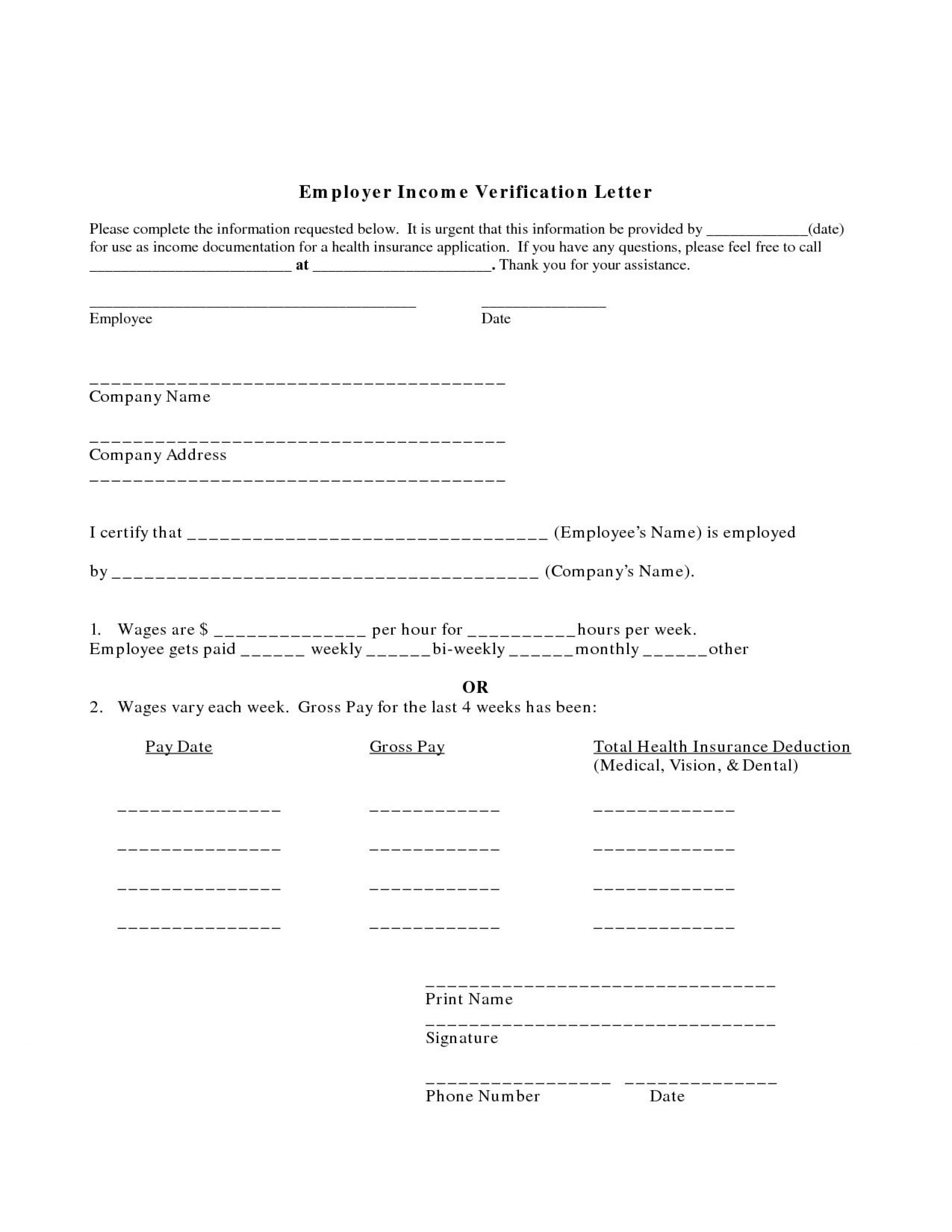 001 Imposing Income Verification Letter Template Example  Word From Employer Proof Of1920