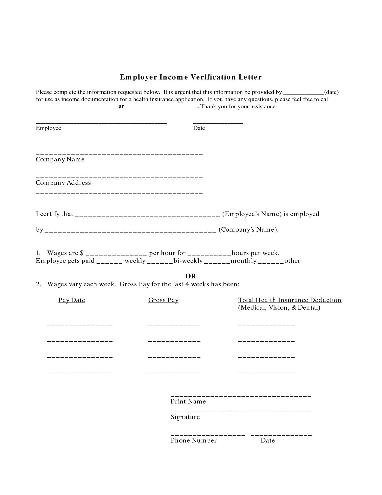 001 Imposing Income Verification Letter Template Example  Word From Employer Proof OfFull