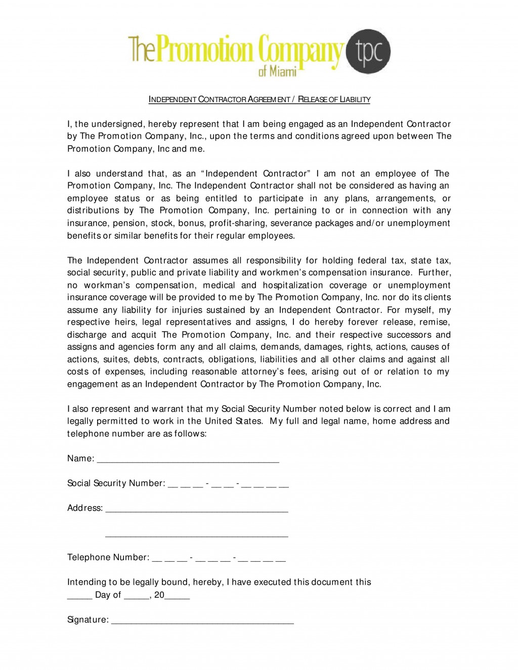 001 Imposing Liability Release Form Template Photo  General Waiver Church FreeLarge