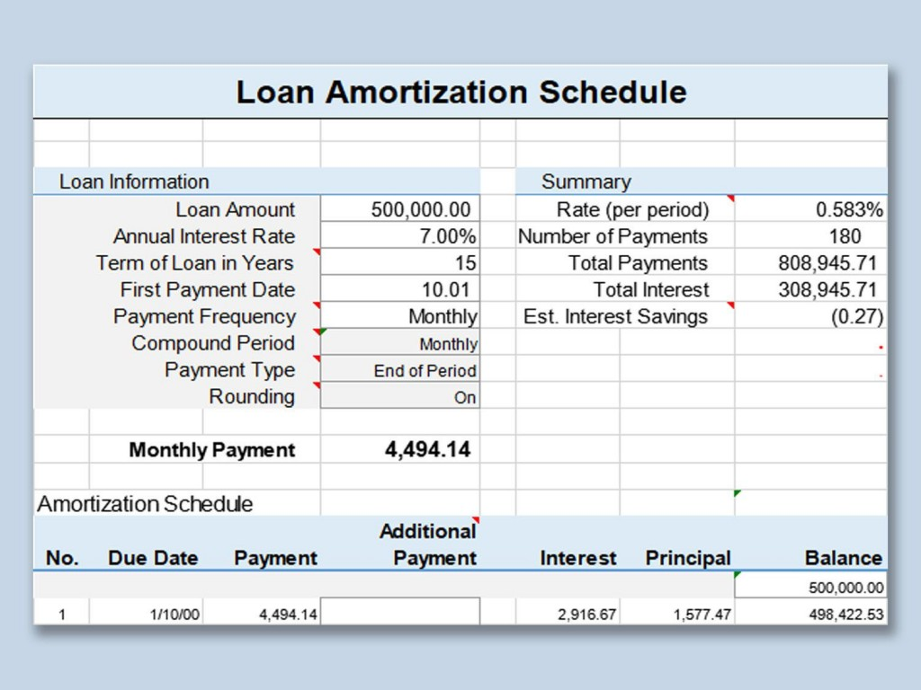001 Imposing Loan Amortization Template Excel Design  Schedule Free 2010Large