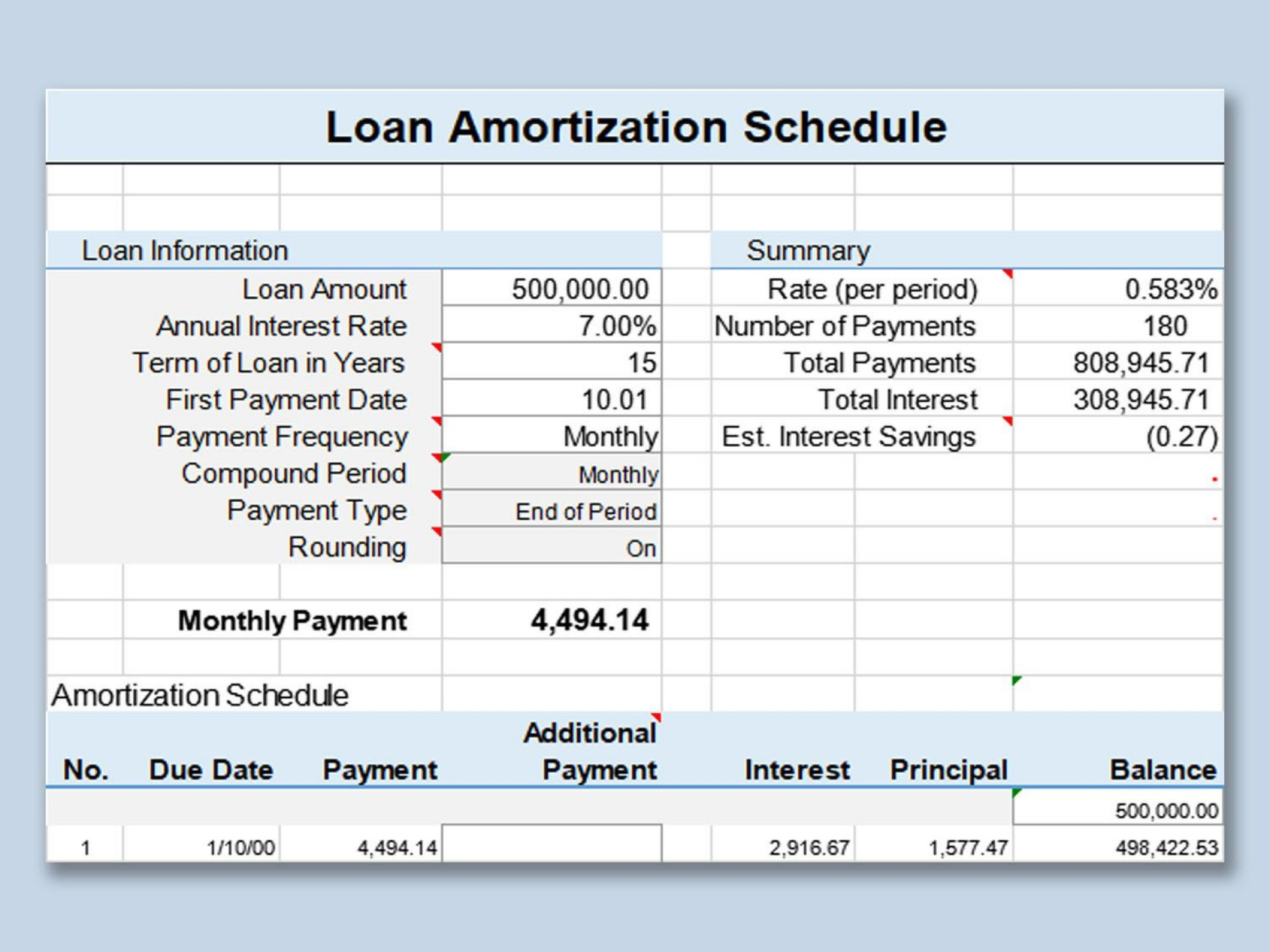 001 Imposing Loan Amortization Template Excel Design  Schedule Free 20101920