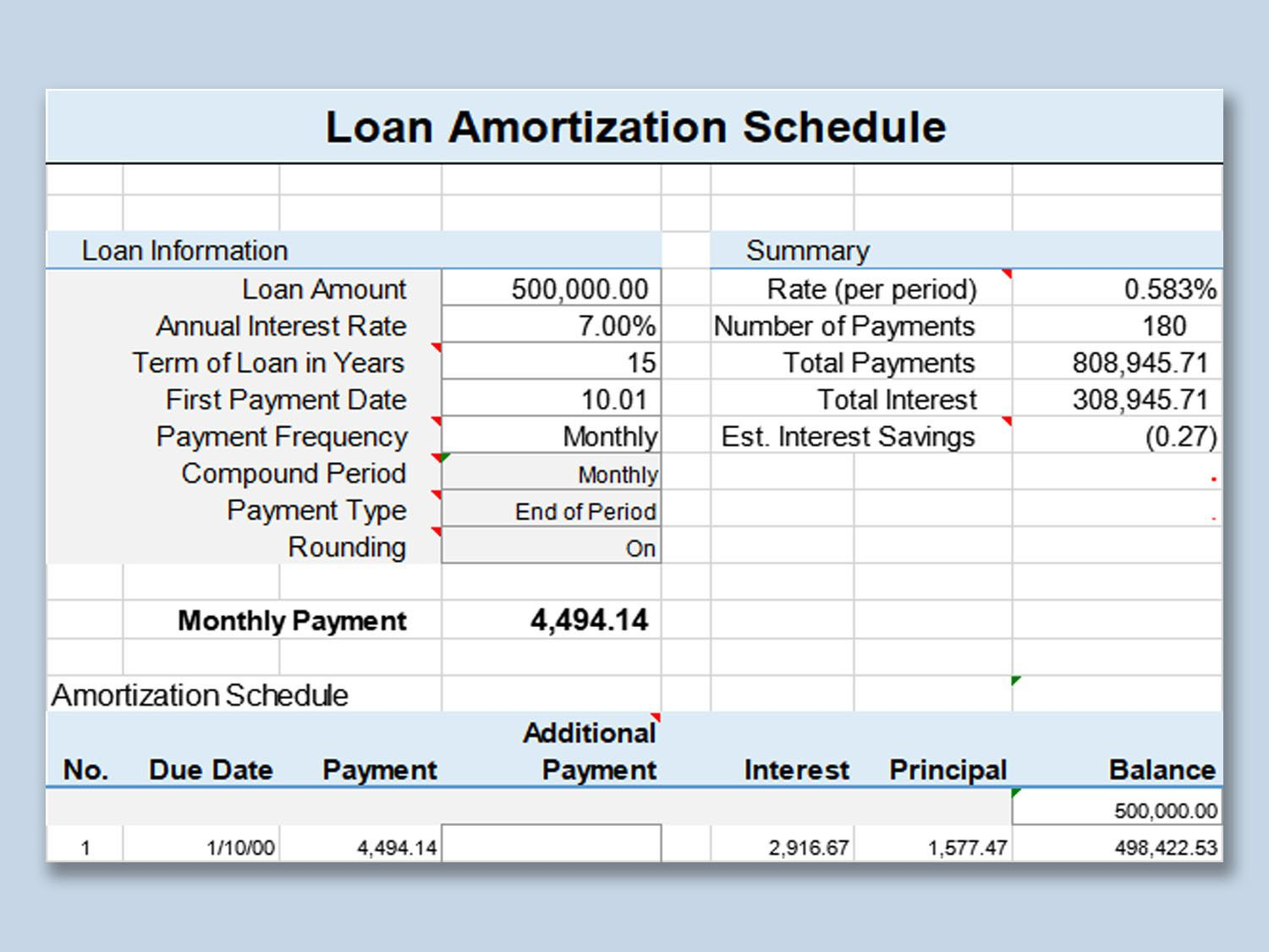001 Imposing Loan Amortization Template Excel Design  Schedule Free 2010Full