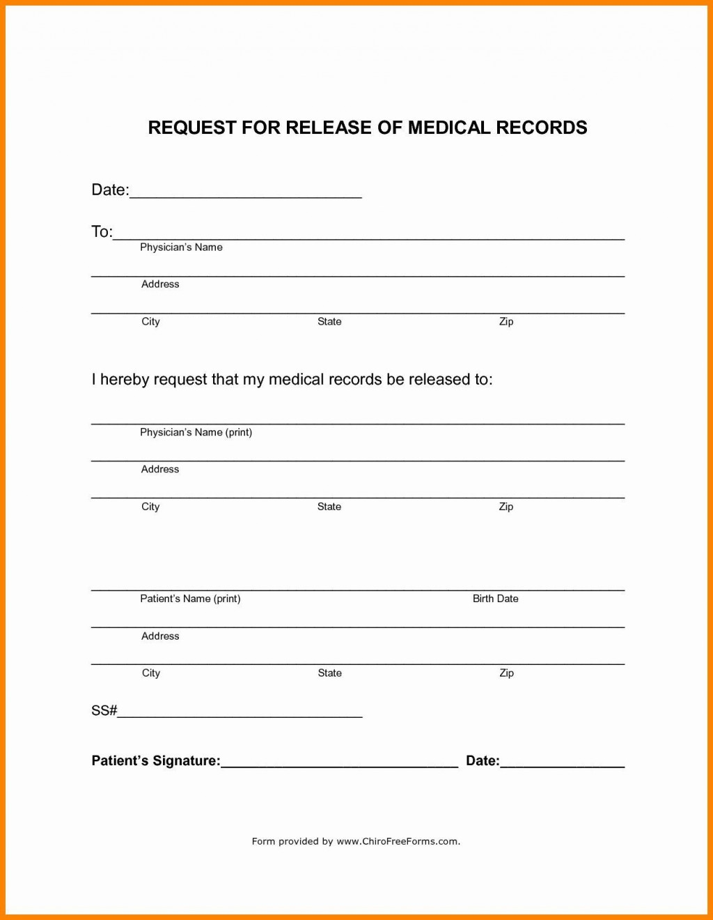 001 Imposing Medical Record Release Form Template Sample  Request Free PersonalLarge