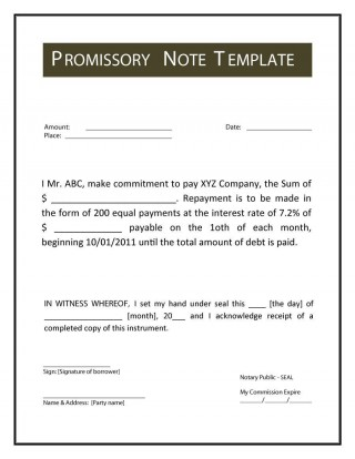 001 Imposing Promissory Note Template Microsoft Word Idea  Form Free320