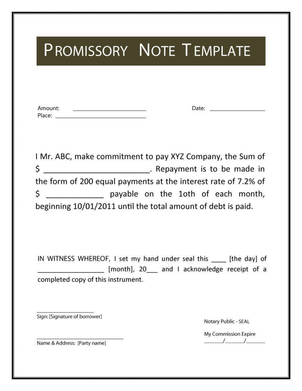 001 Imposing Promissory Note Template Microsoft Word Idea  Form Free960