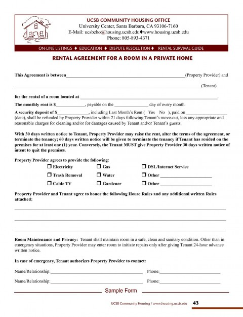 001 Imposing Rental Agreement Template Free Picture  Tenancy Form Download Word480