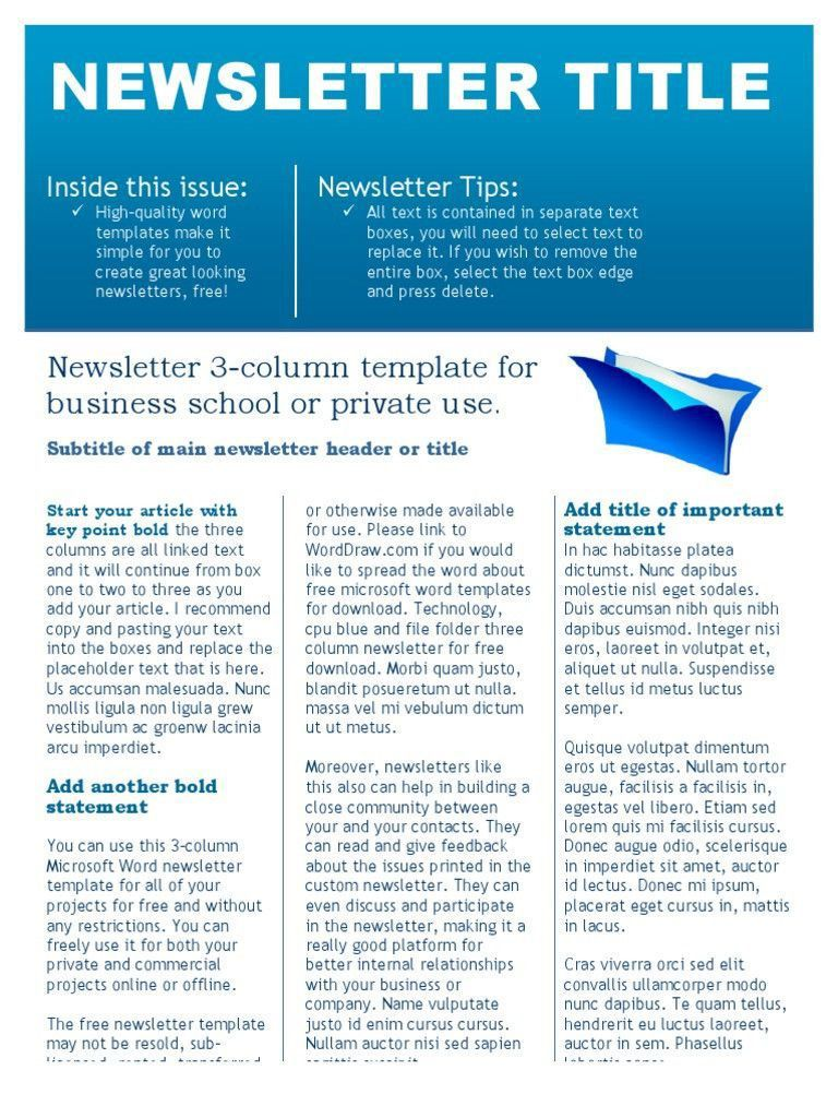 001 Imposing Word Newsletter Template Free Download High Definition  Document M 2007 DesignFull