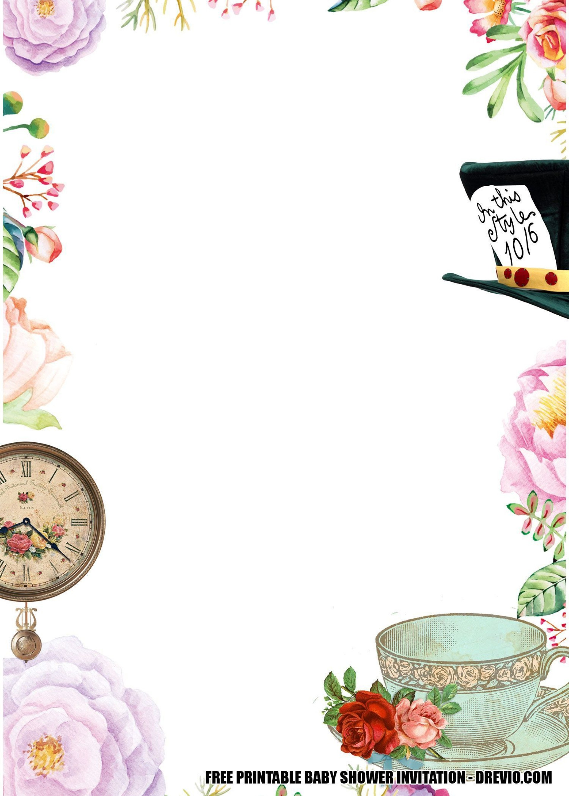 001 Impressive Alice In Wonderland Tea Party Template Idea  Templates Invitation Free1920