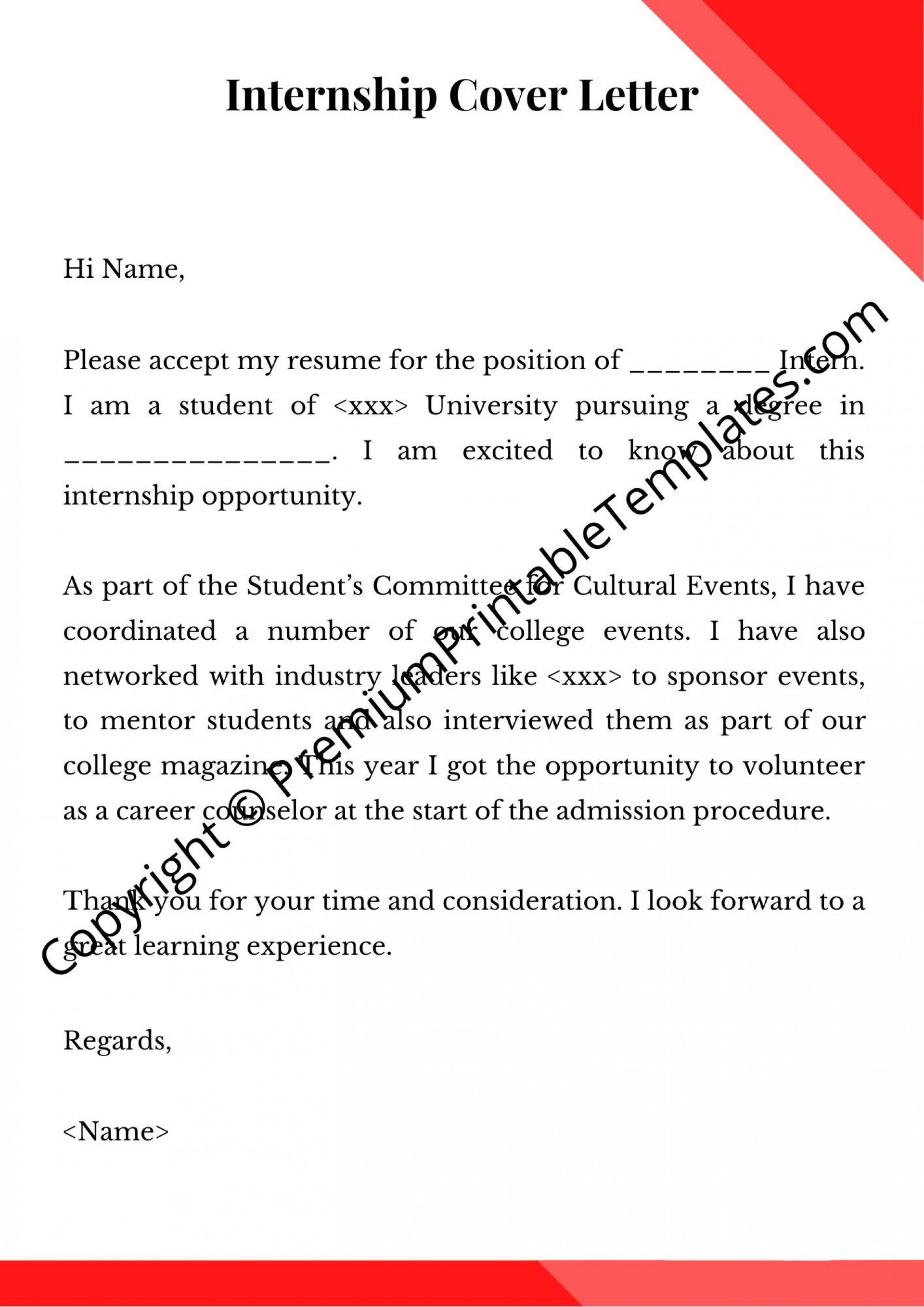 001 Impressive Cover Letter For Internship Template Inspiration  Free Engineering Example Summer1920