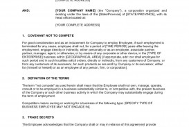 001 Impressive Employee Non Compete Agreement Template Concept  Free Disclosure