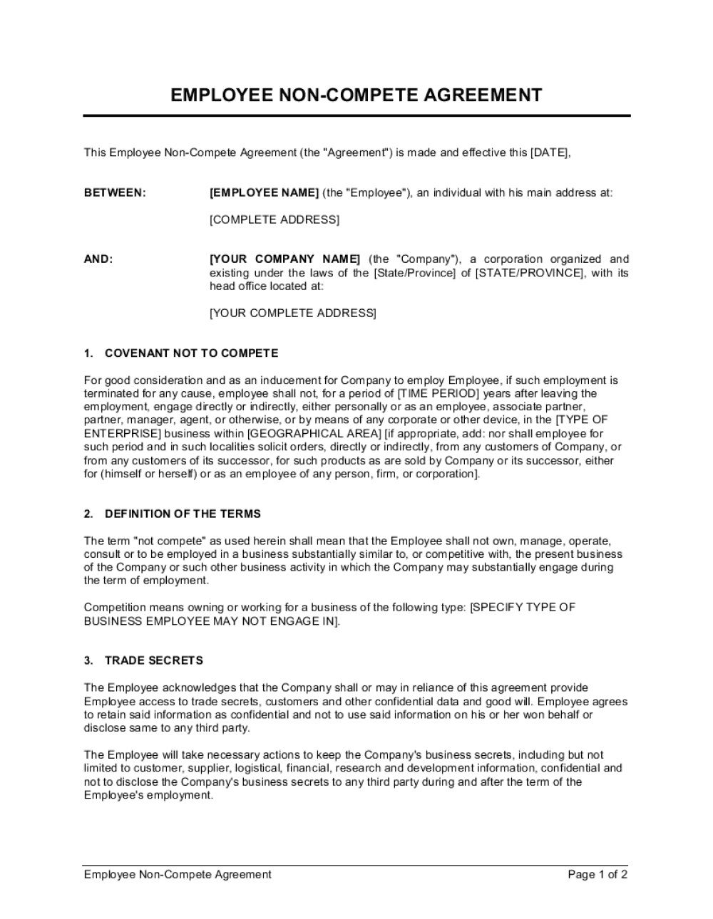 001 Impressive Employee Non Compete Agreement Template Concept  Free Confidentiality Non-compete DisclosureFull