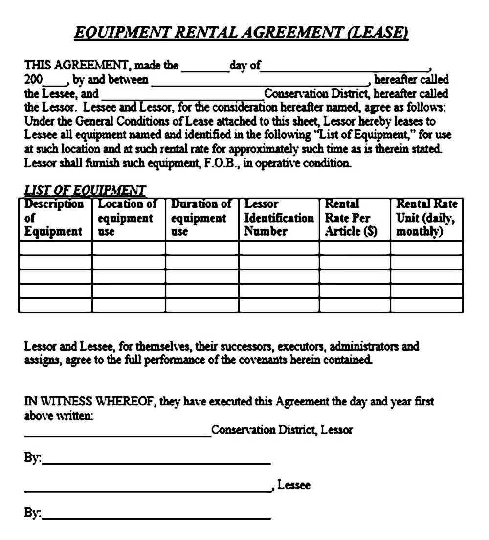001 Impressive Equipment Lease Contract Template Free High Def  Agreement WordFull