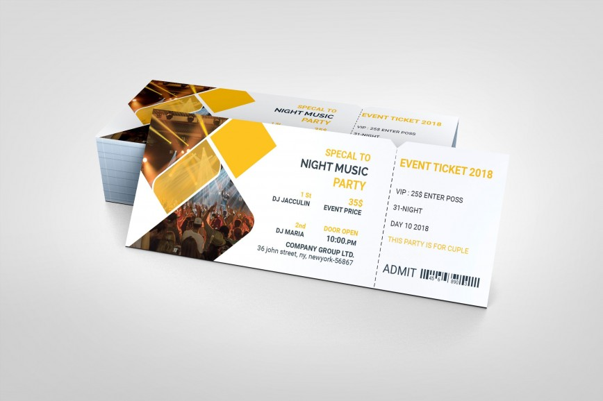 001 Impressive Event Ticket Template Photoshop Image  Psd Free Download