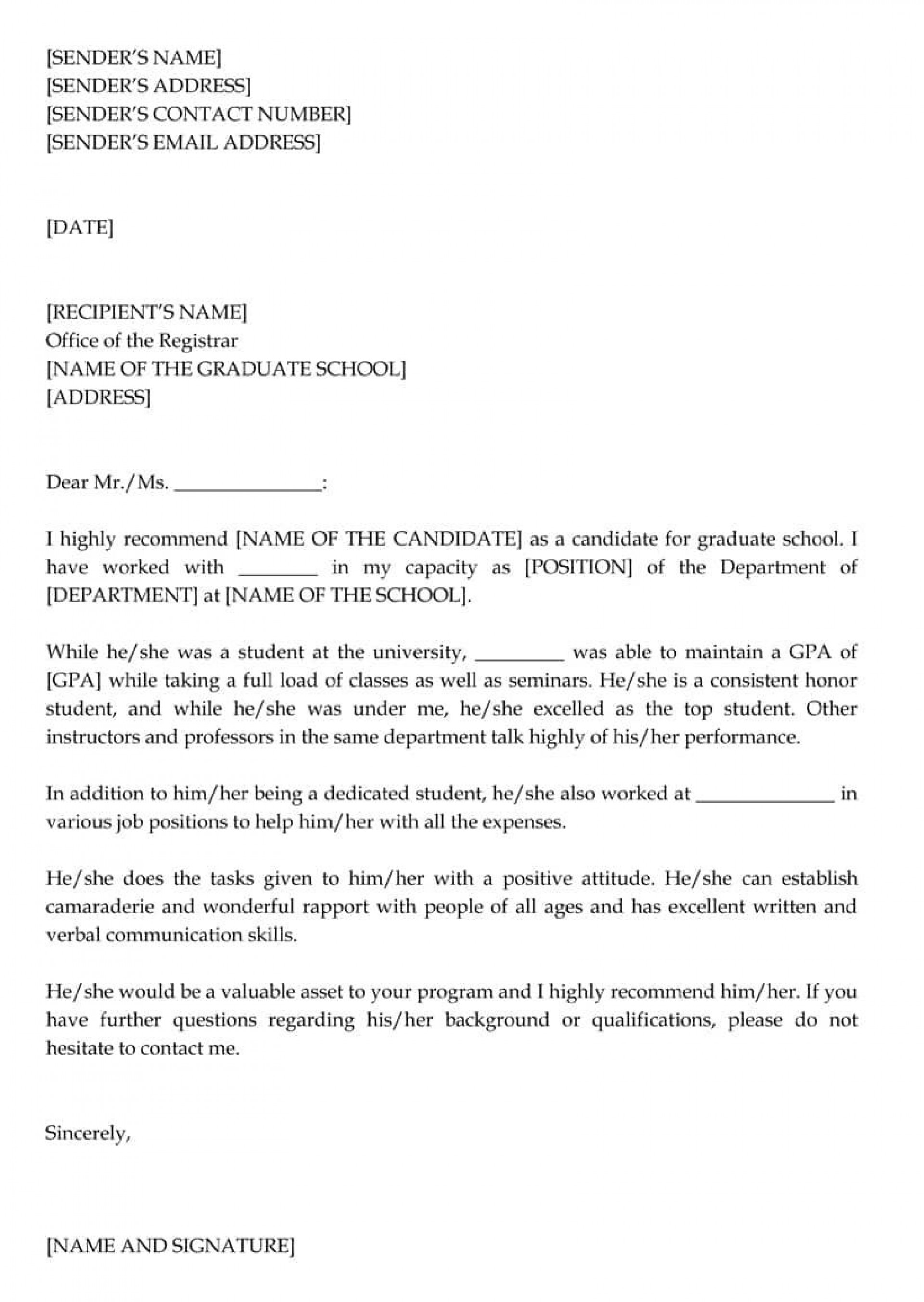 001 Impressive Example Of Letter Recommendation For Graduate School From Employer Highest Quality  Sample Pdf Grad1920